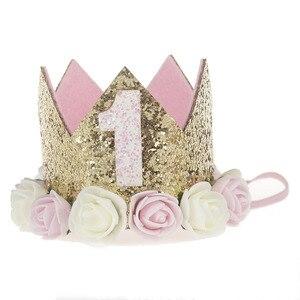 Pierwsze urodziny korona 1 urodziny korona na tort Smash jedna urodziny korona na przyjęcie brokat opaska na imprezę jeden strój urodzinowy