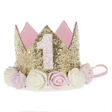 first birthday crown 1st Birthday Crown Cake Smash One Birthday Party Crown Glitter Party Headband One Birthday Outfit(China)