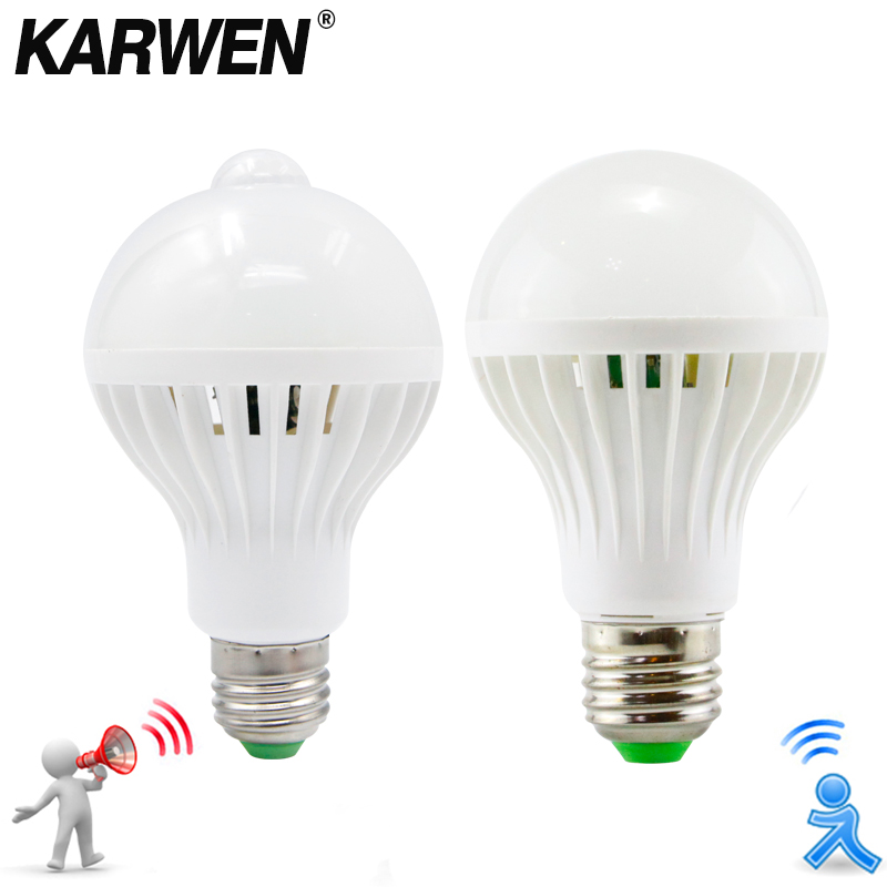 KARWEN AC 85-265V Smart Sound/ PIR Motion Sensor Bombillas LED Bulb E27 3W 5W 7W 9W 12W Induction lamp Stair Hallway lightKARWEN AC 85-265V Smart Sound/ PIR Motion Sensor Bombillas LED Bulb E27 3W 5W 7W 9W 12W Induction lamp Stair Hallway light