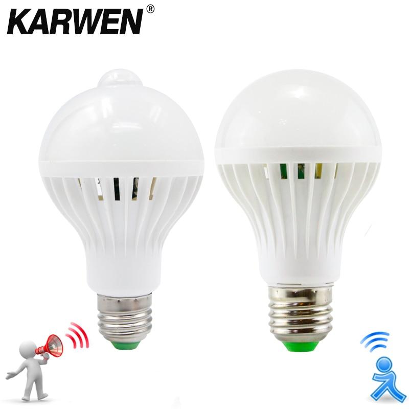 KARWEN AC 85-265V Smart Sound/ PIR Motion Sensor Bombillas LED Bulb E27 3W 5W 7W 9W 12W Induction Lamp Stair Hallway Light