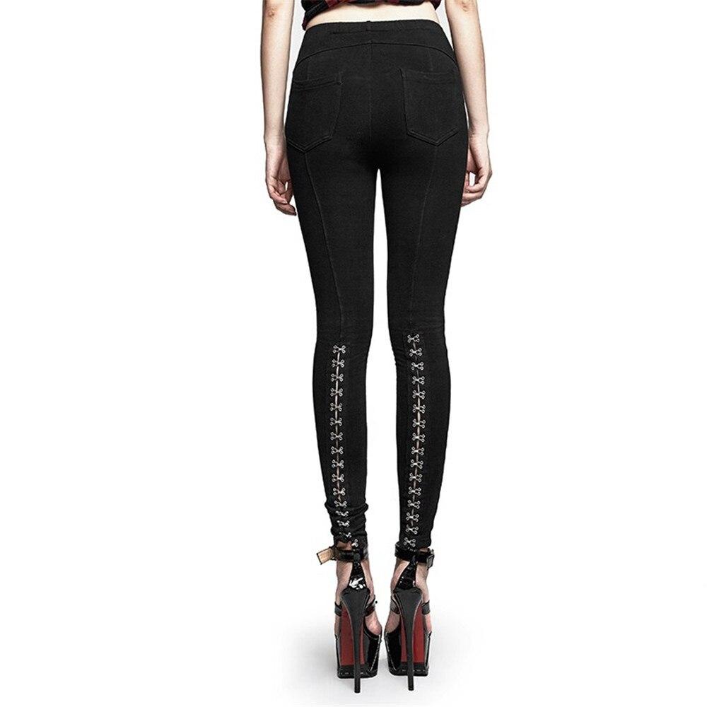 PUNK RAVE Steampunk gothique femmes PU cuir pantalon évider noir Sexy pantalon Club fête femmes à lacets Skinny pantalon - 3