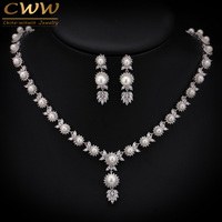 Elegant Design Big Leaf Drop Bridal Pearl Necklace Wedding Jewelry Sets With Top Quality AAA Cubic
