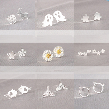 Real 925 Sterling Silver Jewelry For Women Cute AnimalHollow Earring Stud Small Girls Wholesale - discount item  49% OFF Fine Jewelry