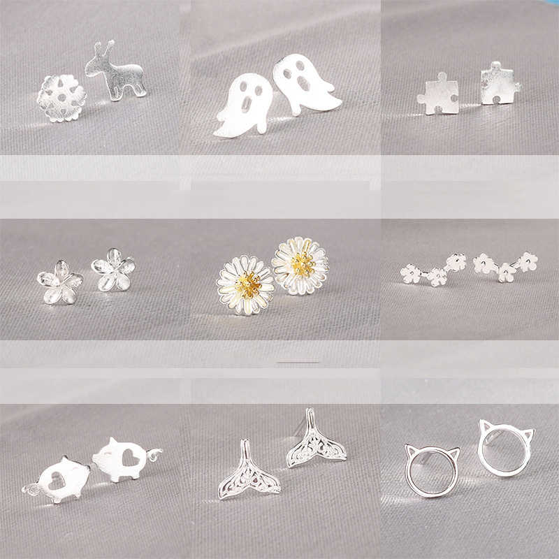 Real 925 Sterling Silver Jewelry For Women Cute AnimalHollow Earring Stud Small Stud Earring For Girls Wholesale