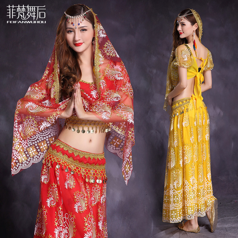 Sexy Flower print guaze High quality Indian Dance clothes 5pcs set for female women costume belly