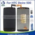 100% testado novo display lcd touch screen digitador assembléia para htc desire 500 reparação peças de reposição preto + ferramentas