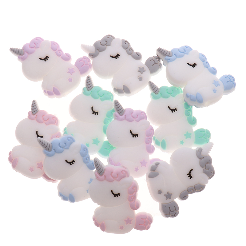 5pcs Cute Unicorn Silicone Animal Teether Beads BPA Free Baby Teething Necklace DIY Infant Chewable Pacifier Chain Fox Koala Owl