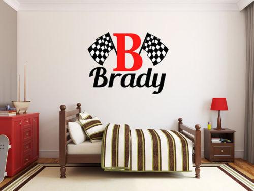 Jongens naam geblokte vlag vinyl muurtattoo naam custom racing