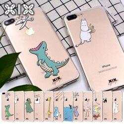 Чехол для Funda iPhone 11 Pro 5 5S 6 6S 7 8 Plus X XS Max, милый динозавр для iPhone 7, мягкий чехол из ТПУ для iPhone XR