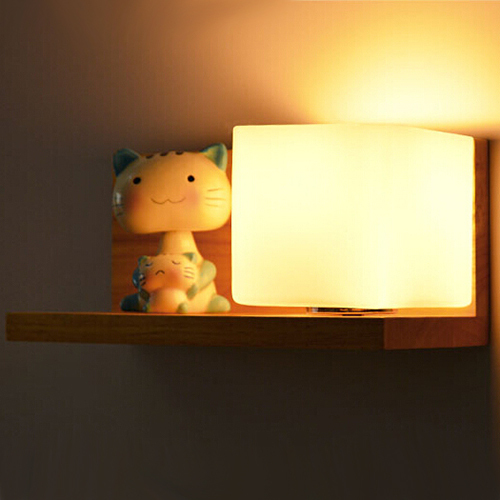 Fashion Modern Solid Wood Glass Wall Sconce Oak LED Wall Light For ...