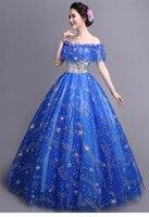 100%real royal blue glitter stars ruffled slash ball gown Medieval Renaissance Gown queen Victorian dress/stuido/ Belle ball