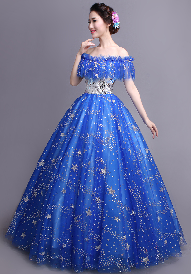 100 Real Royal Blue Glitter Stars Ruffled Slash Ball Gown