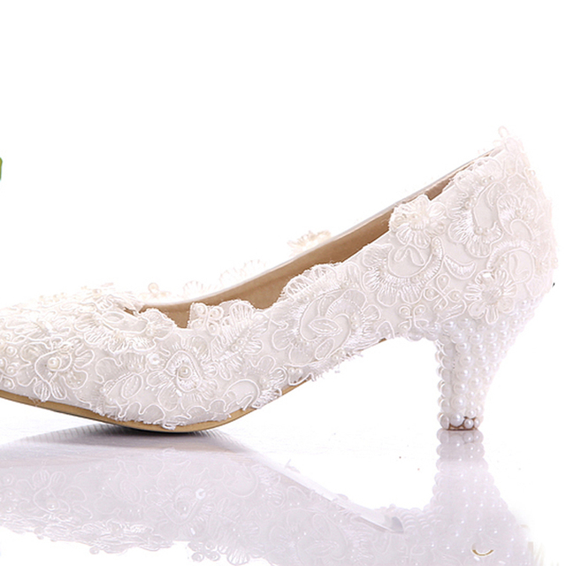 White Lace Low Heel Wedding Bridal Shoes Kitten Bridesmaid Elegant Party Embellished Prom