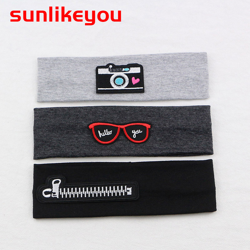 Sunlikeyou Cartoon Embroidery Baby Hair Accessories Cotton Elastic Newborn Headband Boy Sports Turban Baby Girl Headbands