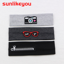 Sunlikeyou Cartoon Embroidery Baby Hair Accessories Cotton Elastic Newborn Headband Boy Sports Turban Girl Headbands