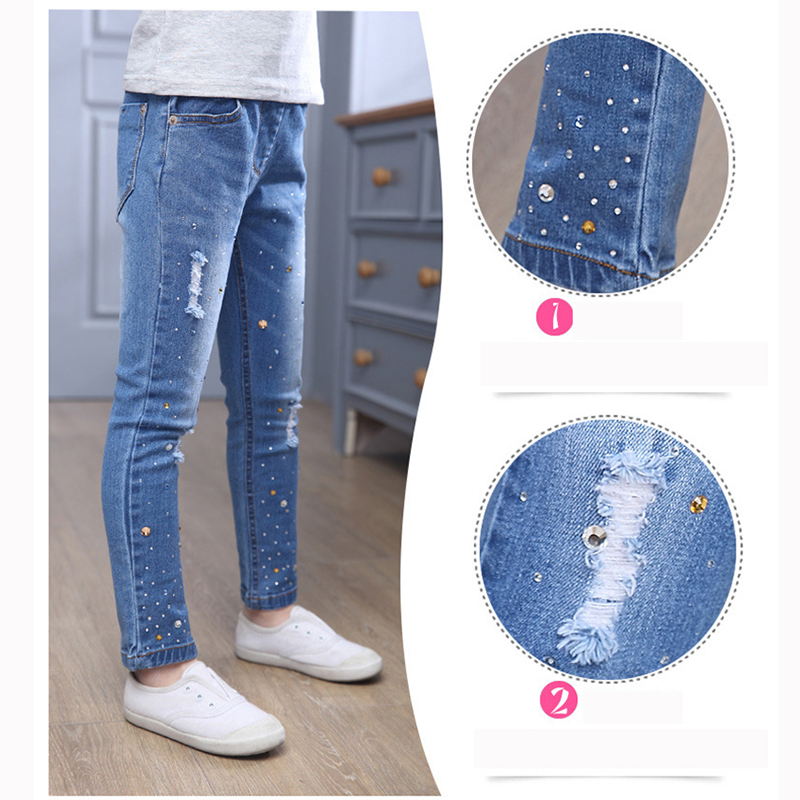 New Style Girls Hole Jeans Kids Jeans Girls Trousers Autumn Fashion - Children's Clothing - Photo 5