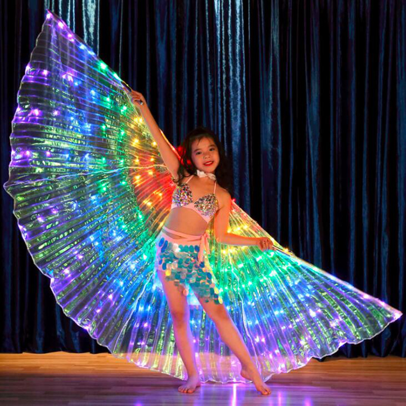 New Kids LED Isis Wings for Belly Dance nice Rainbow White Children  LED light Wings luminous dance Props LED Wings for girls