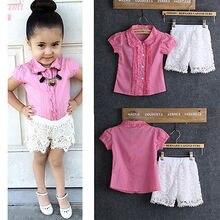 2016 Children Clothing Girls Pink Tops shirt+Short Lace Pants 2pcs Outfits Sets Suit 2-8Y