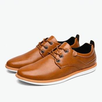 2018 zapatos transpirables casuales zapatos de moda con cordones de cuero marrón Negro hombres zapatos de negocios formales hombre Eur 40- 45 EY07-43 C1