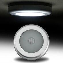 BORUiT PIR датчик движения 6 светодиодная подсветка под шкаф кухня спальня Беспроводной магнитный шкаф светильник сенсор лестничный светильник ночник