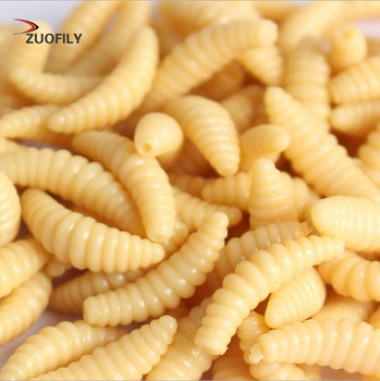 Promotion 50PCS 2cm 0.3g maggot Grub Soft Fishing Lure hooks  smell Worms Glow Shrimps Fish Lures 1