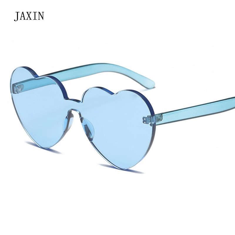 JAXIN Personalized transparent heart-shaped Sunglasses Women fashion new Sun Glasses brand design Siamese versatile gogglesUV400