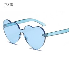 JAXIN Personalized transparent heart-shaped Sunglasses Women fashion new Sun Glasses brand design Siamese versatile gogglesUV400