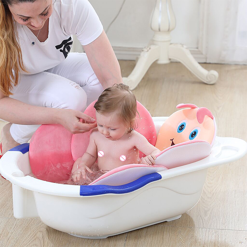 Baby Bath Tub Insert Cushion Infant Sink Bath Bath Sponge Baby Bath Pillow Pad Non-slip Tub Bracket Net Bath Plush Mat