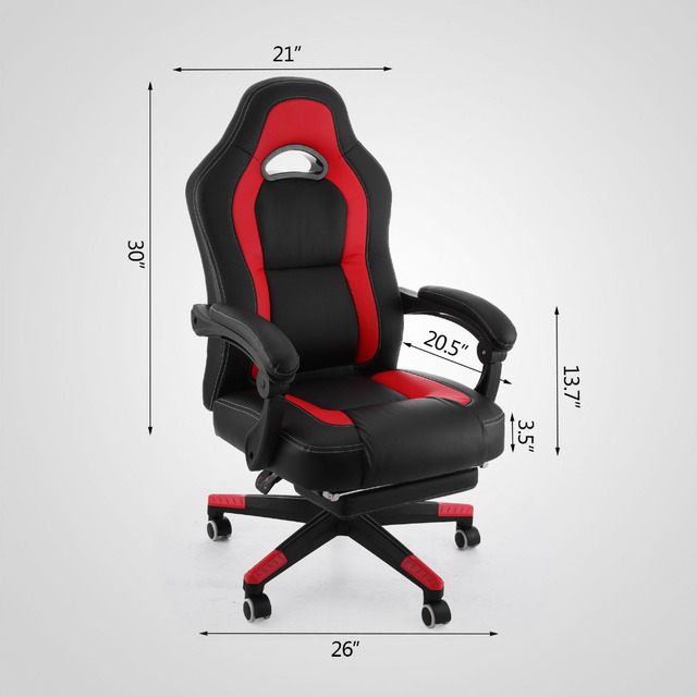 Happybuy Racing Gaming Chair PU Leather Ergonomic Design Computer Gaming  Racing Chair High Back Computer Chair