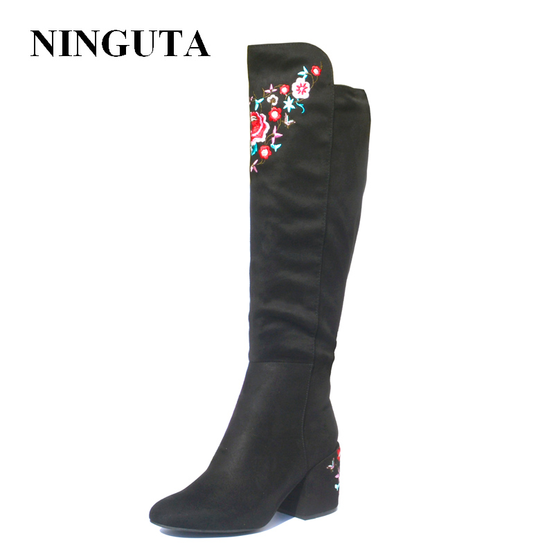 NINGUTA Embroider High Boots Women Autumn Spring Heels Women Knee High Boots