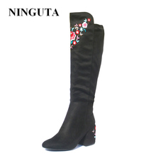 цена NINGUTA embroider high boots women autumn spring heels women knee high boots онлайн в 2017 году