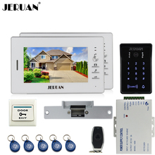 JERUAN Home 7« LCD video door phone intercom system kit 2 monitors RFID waterproof touch key password keypad COMS IR Camera