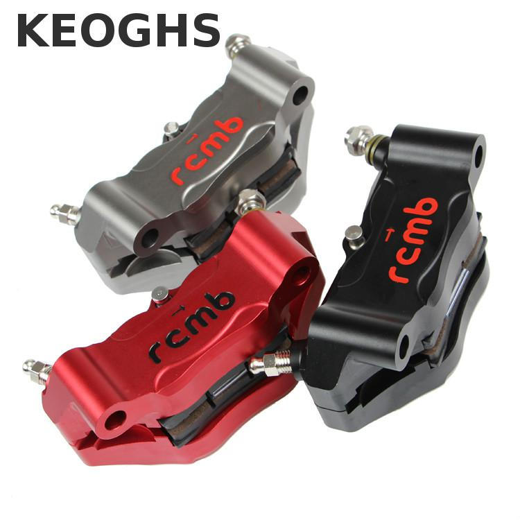 Keoghs Motorcycle Brake Caliper 100mm Eye To Eye 4 Piston Cnc Aluminum For Honda Yamaha Ducati Kawasaki Suzuki Motorbike Modify new 13 5 340mm motorcycle a pair air shocks absorber eye to eye gokart purple