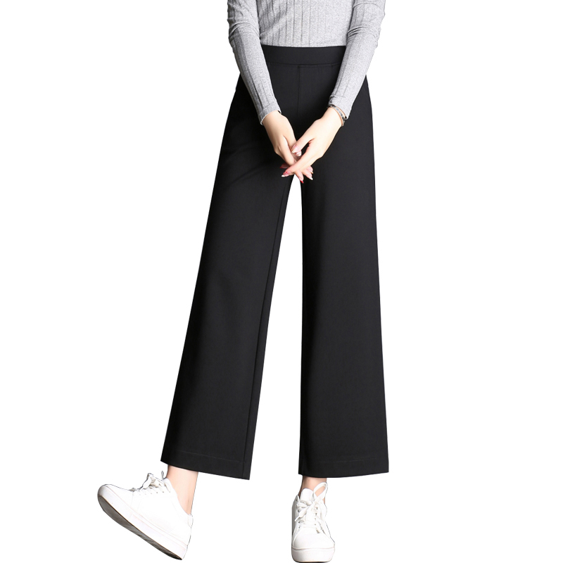 New 2019 Spring Summer Fashion Women High Waist   Wide     Leg     Pants   Female Plus Size Loose Casual Nine Yards   Pants   Y117