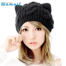 Womail Good Deal  New Fashion Women's Black Cotton Cat Ears Hemp Flowers Knitted Hat Gift 1PC