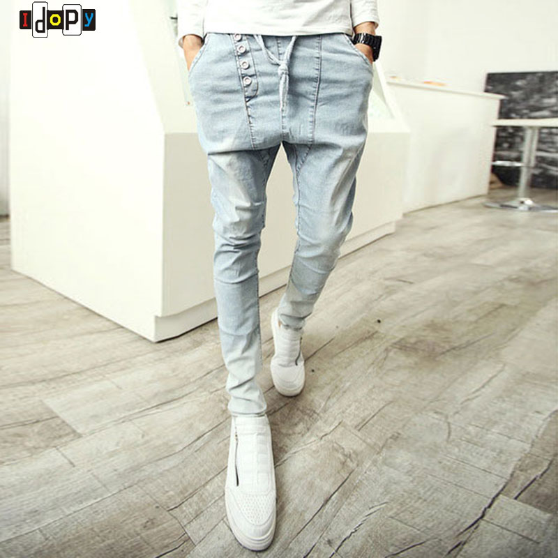 Fashion Men's Harem Pants Hip Hop Baggy Loose Fit Denim Pants Drop Crotch Vintage Washed Retro Trousers For Hipster роллерсерф jd bug rt 03 caster cruiser black
