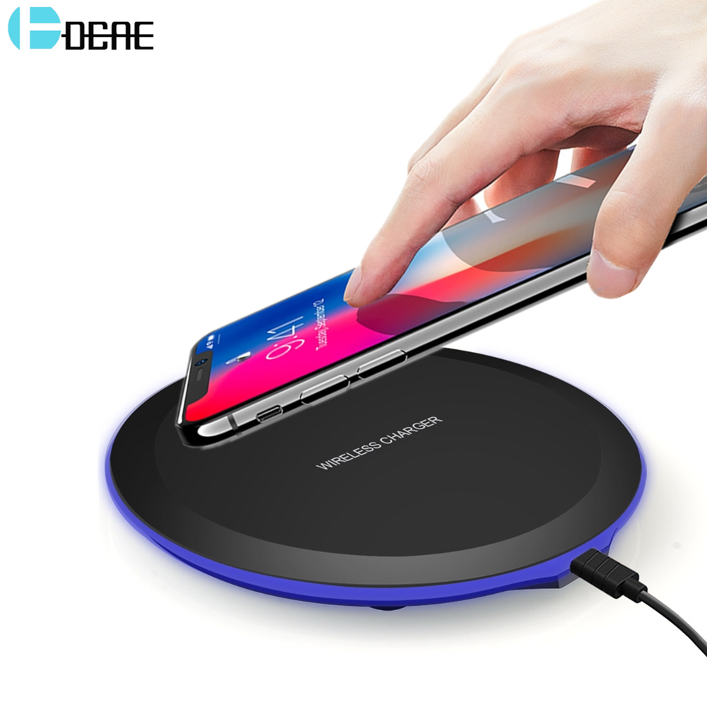 DCAE Wireless Charger for iPhone 8 X Qi Wireless Charging Pad for Samsung S9 S8 Plus S7 S6 Xiaomi Mi Mix 2s Mobile Phone Charger