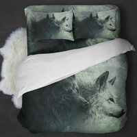 3D Wolf Bedding Sets Twin Full Queen King Size Animal Quilt/Duvet Cover 3PCS Bed Linens Bed Cover Pillow Cases