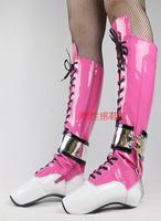 Женские сапоги, веселые балетки, высокие сапоги для ночного клуба с замком, сапоги средней высоты из лакированной кожи, зимняя женская обувь