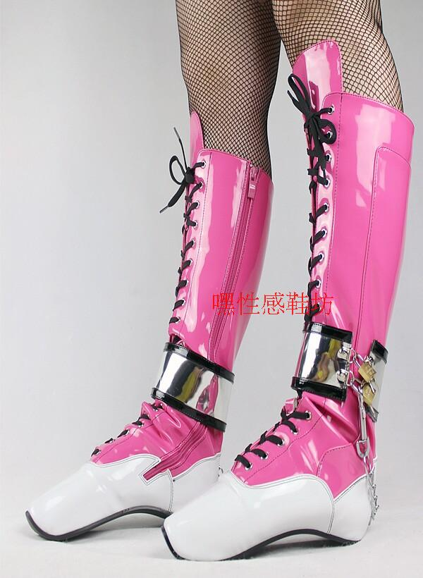 Women Boots Fun Ballet Boos Shoes Lock Nightclub Long Boots Patent Leather Mid-Cal Boots Winter Shoes Woman Botas Femininas ...
