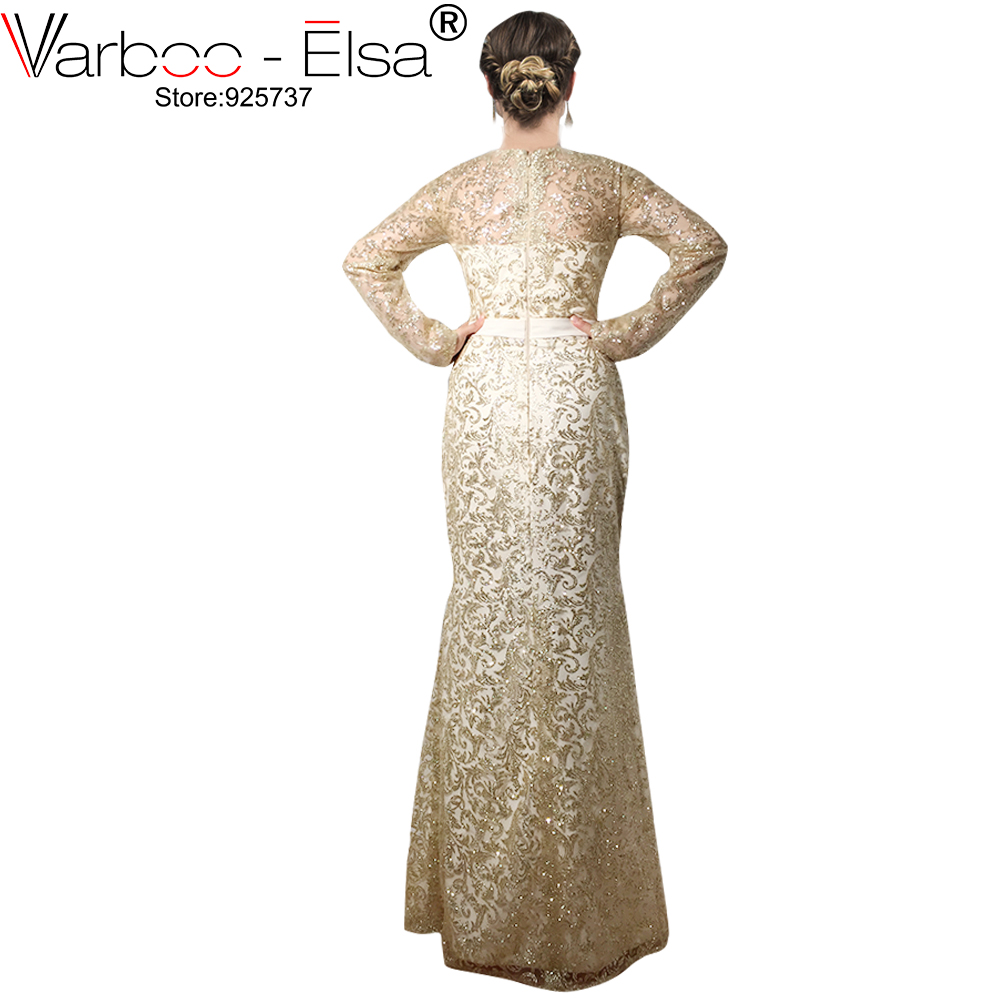VARBOO ELSA 2018 Glitter Luxury Evening Dress Gold Sequined Moveable Train  Long Prom Dress Arabic Special Occasions Party Gown-in Evening Dresses from  ... 9add5d396dd0