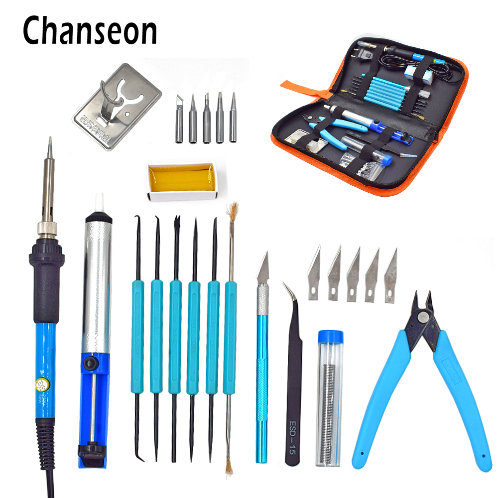 Eu Plug 220v/110v 60w Adjustable Temperature Electric Soldering Iron Kit+5pcs Tips Portable Welding Repair Tool Tweezers Knife
