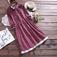 Literary Female Long Floral Collar Loose Cotton Dress