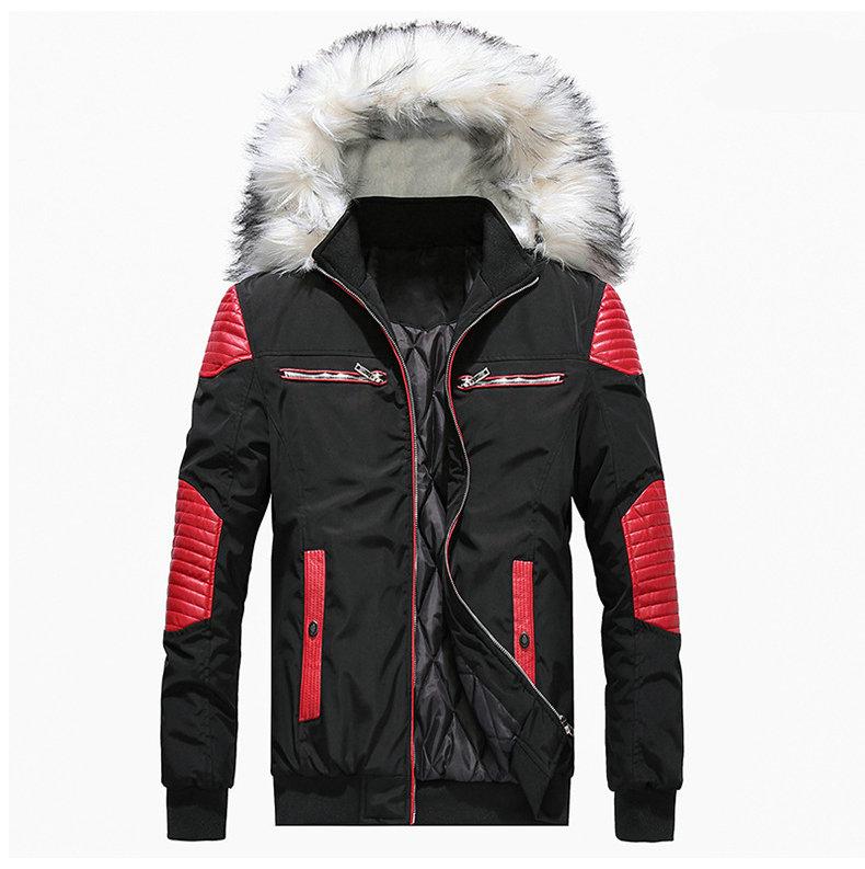 Autumn Winter Jacket Men 18 New Big Fur Hooded Thick Warm Mens Winter Coats Patchwork Color Windproof Parka Men Outwear 3
