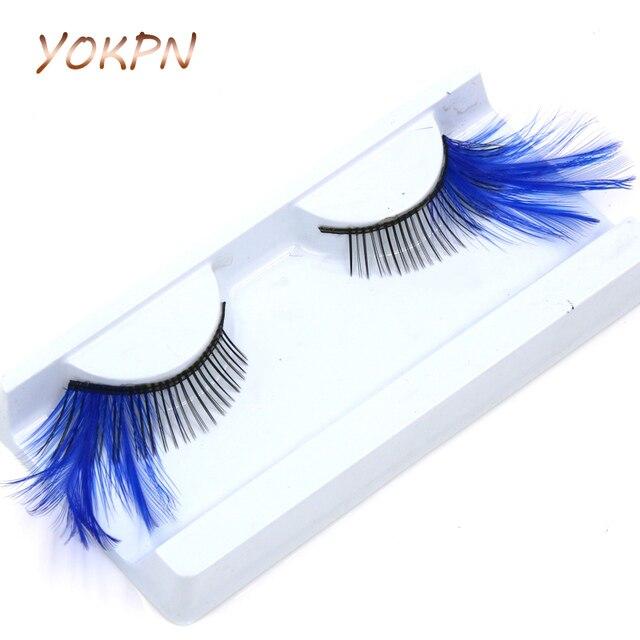 5ddcdac1f55 YOKPN Eyelash Elongated Feather False Eyelashes Masquerade Prom Dress Art  Exaggerated Blue Fake Eyelashes Fashion Makeup Lashes