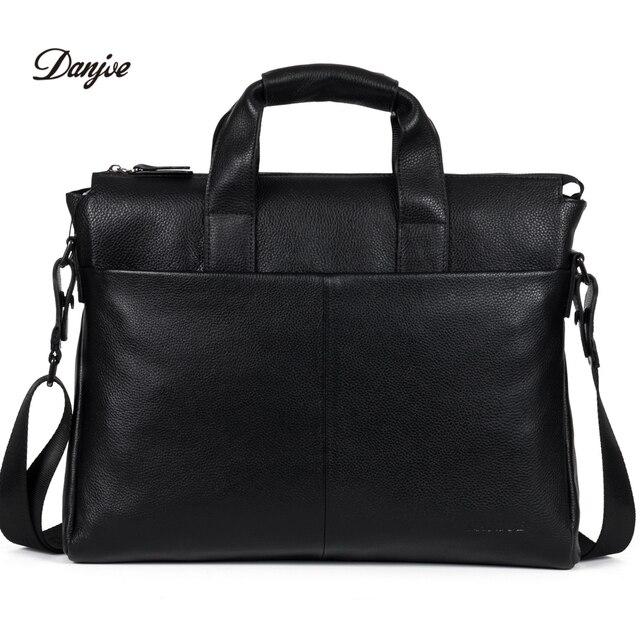 Danjue натуральная кожа мужские briefcare бренд высокого качества мужские деловые сумки два цвета из натуральной кожи мягкие мужские Сумка для ноутбука