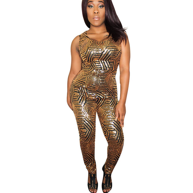 f5f482f8e1b0 Macacao Feminino 2017 Charming Women Champagne Black Gold Striped Sequin  Jumpsuit Bodysuit Women Fashion Sexy Playsuit C2654