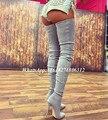 2017 Моды Взлетно-Посадочной Полосы Искусственной Замши Серый Промежность Сапоги Зимние Strech Над Коленом Crepe Zip Ботинки Женщин Бедро Высокие Стилет сапоги