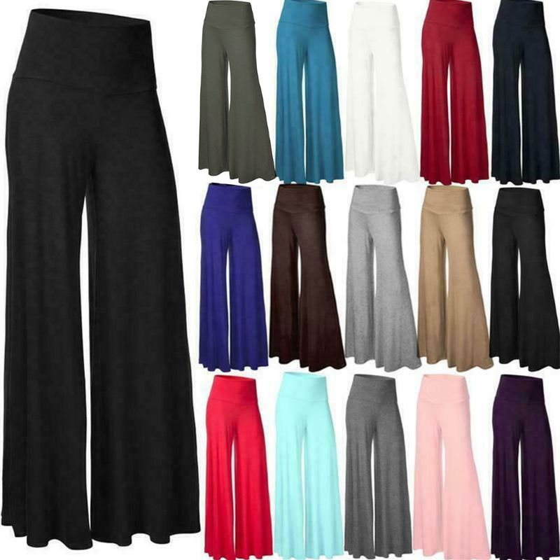 Womens Plus Size High Waist Wide Leg Maxi Long Pants Solid Color Office Lady Loose Stretch Pleated Palazzo Lounge Trousers S-3XL