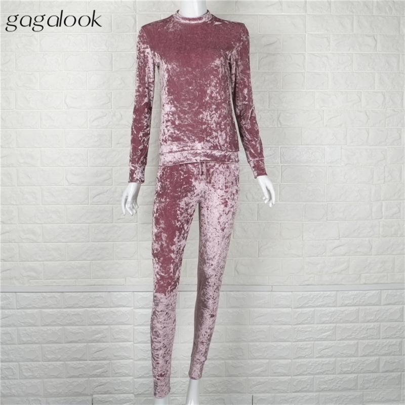 Gagalook Velour Tracksuit Women Pink Blue Track Suit Velvet